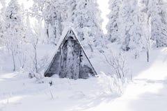 Małe drewniane stare szarość mieścą toaletę zakrywającą z śniegiem przeciw bac fotografia stock