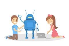 Małe dzieci consctructing robot zabawkę wpólnie ilustracji