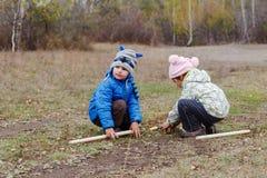 Małe dzieci w jesieni kurtkach bawić się w jesień lesie obrazy stock