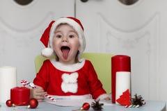 Małe dziecko pisze liście Santa Zdjęcie Stock