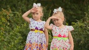 Małe dziewczynki bliźniacze siostry chują od słońca nakrycia ręk one przyglądają się, wskazujący w odległość Wokoło one zieleni zbiory wideo