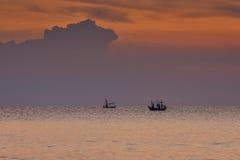 Małe filhing łodzie w morzu Obraz Royalty Free