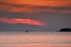 Małe filhing łodzie w morzu Obraz Stock