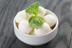 Małe piłki mozzarella w pucharze z basilem Zdjęcie Stock