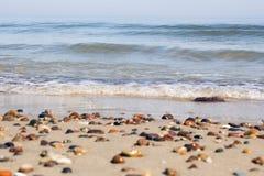 Małe skały rozpraszać na plażowym piaska zakończeniu up Obraz Royalty Free