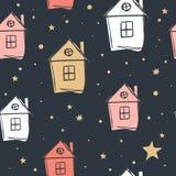 Małego domu prosty wzór pojedynczy białe tło ilustracja wektor