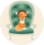 Małego lisa słuchająca muzyka Ilustracja Wektor