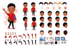 Małej czarny afrykanin chłopiec charakteru tworzenia zestawu Studencki szablon z Różnymi wyrazami twarzy ilustracja wektor