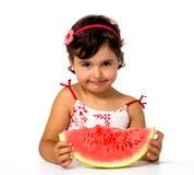 Małej dziewczynki łasowania arbuz Obrazy Stock