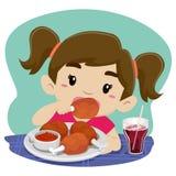 Małej Dziewczynki łasowania kurczak z sodą royalty ilustracja
