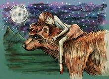 Małej dziewczynki dosypianie na niedźwiedziu Fantazji nocy scena ilustracji