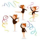 Małej dziewczynki gimnastyczka ćwiczy z faborkiem na białym tle ilustracja wektor