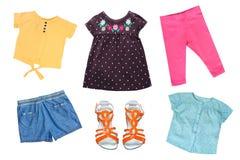 Małej dziewczynki kolorowa moda jak odzieżowego kolaż dla wiosny i lato odizolowywającego na bielu obrazy stock