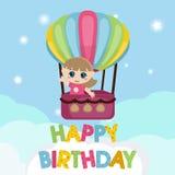Małej dziewczynki latanie w gorące powietrze balonie Obrazy Stock