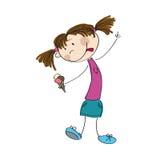 Małej dziewczynki mienia lody - oryginalna ręka rysująca ilustracja Obraz Royalty Free