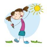Małej dziewczynki mienia lody - oryginalna ręka rysująca ilustracja Zdjęcia Stock