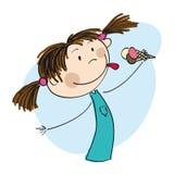 Małej dziewczynki mienia lody - oryginalna ręka rysująca ilustracja Zdjęcie Royalty Free