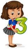 Małej dziewczynki mienie liczba trzy royalty ilustracja