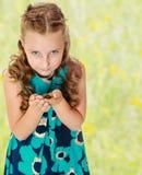 Małej dziewczynki mienie wewnątrz wręcza małego żółwia Obraz Stock