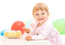 Małej dziewczynki odświętności po drugie urodziny obraz stock