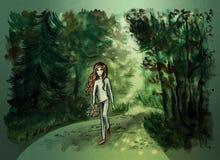 Małej dziewczynki odprowadzenie przez lasu ilustracji