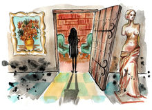 Małej dziewczynki pozycja w zmroku przed otwarte drzwi rozjaśniający pokój royalty ilustracja