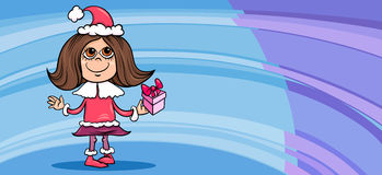 Małej dziewczynki Santa kartka z pozdrowieniami kreskówka Obrazy Stock