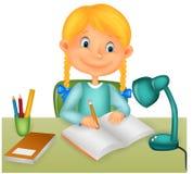 Małej dziewczynki studiowanie ilustracja wektor
