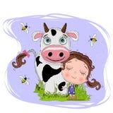 Małej dziewczynki uściśnięcie krowa, uroczy dziecko kreskówki tło z trawą i pszczoła, uroczy karciany powitanie wektorowy illusta ilustracja wektor