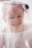 Małej dziewczyny odzieży biała przesłona fotografia stock