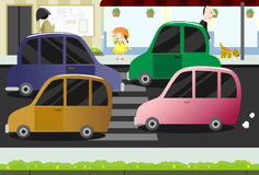 małej dziewczyny ulicy ruchliwie skrzyżowanie Zdjęcie Royalty Free