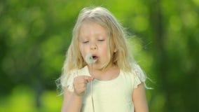 Małej kędzierzawej dziewczyny podmuchowy dandelion zbiory wideo