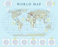 Małej skali polityczna światowa mapa z ważnymi kapitałami Płaski projekt z siatką, etykietką i legendą na mapie, ilustracja wektor
