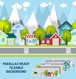 Małomiasteczkowa miasteczko krajobrazu paralaksa przygotowywająca ilustracji