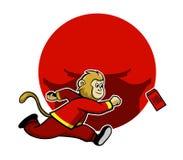 Małpa Dąży Szczęsliwą Czerwoną kopertę Ilustracji