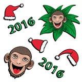 Małpa i kapeluszu nowy rok 2016 - wektoru set Obrazy Stock