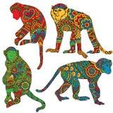 Małpa malująca w stylu mehendi Obrazy Stock