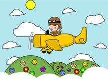 Małpa na samolocie royalty ilustracja