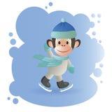 Małpa w błękitnym kapeluszowym łyżwiarstwie ilustracja wektor
