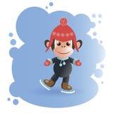 Małpa w czerwonej nakrętce na łyżwach royalty ilustracja