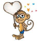 Małpa w miłości kreskówce Zdjęcie Stock