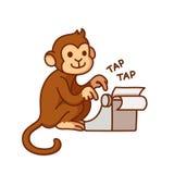 Małpa z maszyna do pisania royalty ilustracja