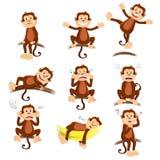 Małpa z różnym wyrażeniem ilustracja wektor
