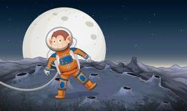 Małpi astronauta w przestrzeni royalty ilustracja