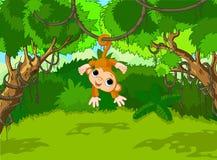 małpi dziecka drzewo ilustracja wektor