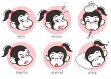 Małpi Emoticons ustawiający Zdjęcie Royalty Free