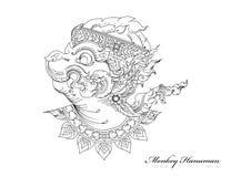 Małpi Hanuman sztuki wzór ilustracja wektor