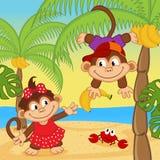 Małpia chłopiec daje dziewczyna banana ilustracja wektor