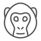 Małpia kreskowa ikona, zwierzę i zoo, royalty ilustracja