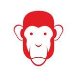 Małpia twarz odizolowywająca Szympans głowa Prymat osoba Zdjęcia Stock
